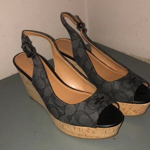 Coach wedge sling back open toe shoes signature